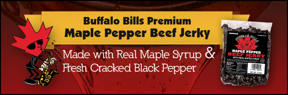 Buffalo Bills Maple Pepper Beef Jerky - Made With Real Maple Syrup & Fresh Cracked Black Pepper
